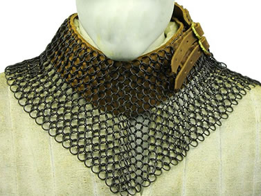 A part of black coating chainmail collar with brown leather lining.